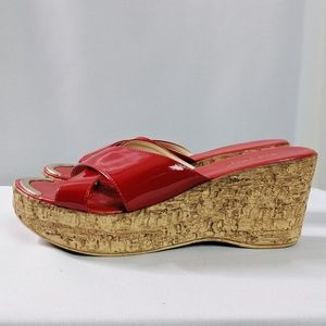 Mila Paoli Made in Italy Red Cork Slide Sandals 8